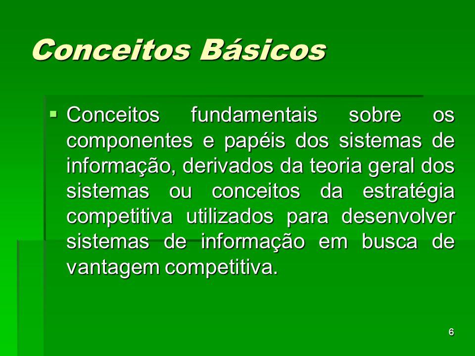 6 Conceitos Básicos  Conceitos fundamentais sobre os componentes e papéis dos sistemas de informação, derivados da teoria geral dos sistemas ou conce