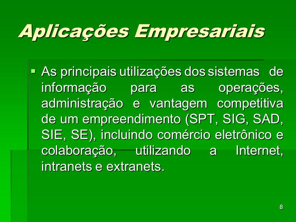 8 Aplicações Empresariais  As principais utilizações dossistemas de informação para as operações, administração e vantagem competitiva de um empreend