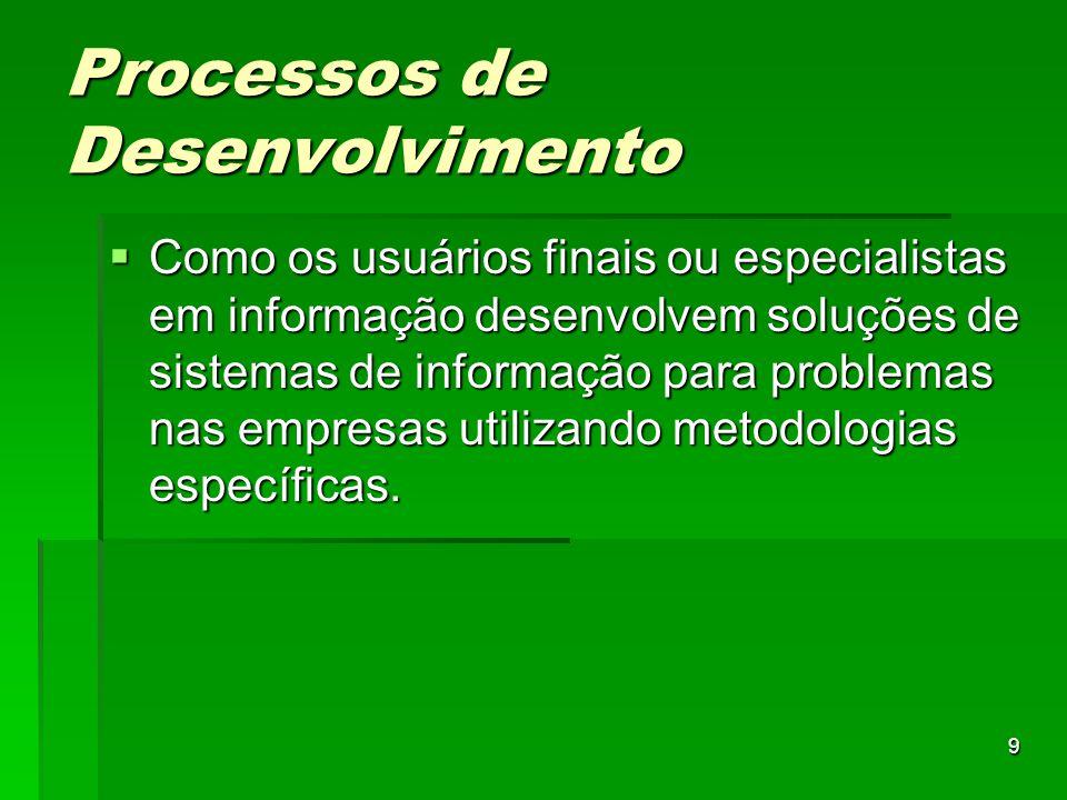9 Processos de Desenvolvimento  Como os usuários finais ou especialistas em informação desenvolvem soluções de sistemas de informação para problemas