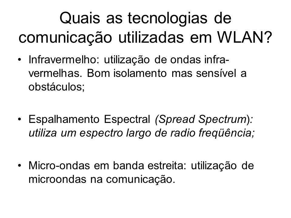 Quais as tecnologias de comunicação utilizadas em WLAN.