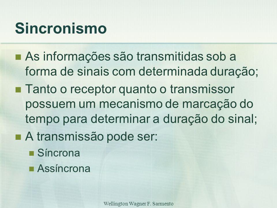 Wellington Wagner F. Sarmento Sincronismo As informações são transmitidas sob a forma de sinais com determinada duração; Tanto o receptor quanto o tra