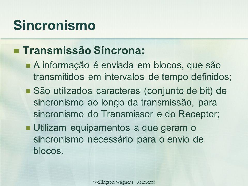Wellington Wagner F. Sarmento Sincronismo Transmissão Síncrona: A informação é enviada em blocos, que são transmitidos em intervalos de tempo definido
