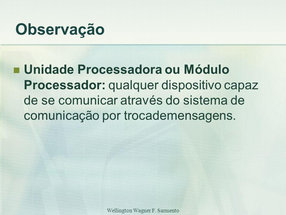 Wellington Wagner F. Sarmento Observação Unidade Processadora ou Módulo Processador: qualquer dispositivo capaz de se comunicar através do sistema de