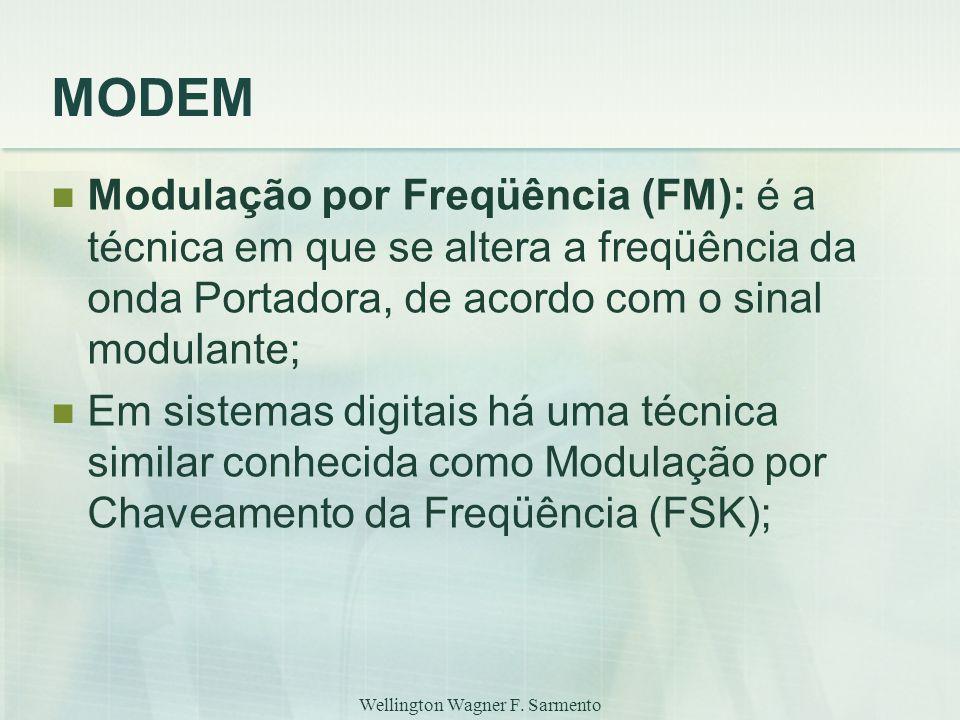 Wellington Wagner F. Sarmento MODEM Modulação por Freqüência (FM): é a técnica em que se altera a freqüência da onda Portadora, de acordo com o sinal