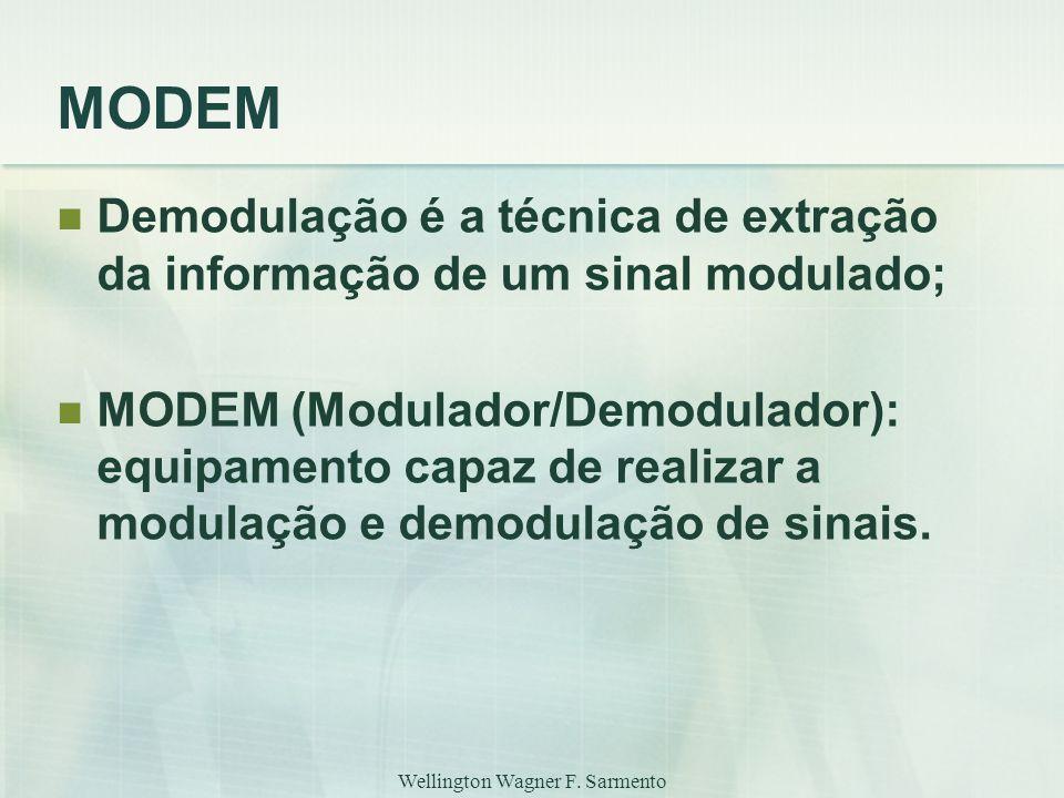 Wellington Wagner F. Sarmento MODEM Demodulação é a técnica de extração da informação de um sinal modulado; MODEM (Modulador/Demodulador): equipamento