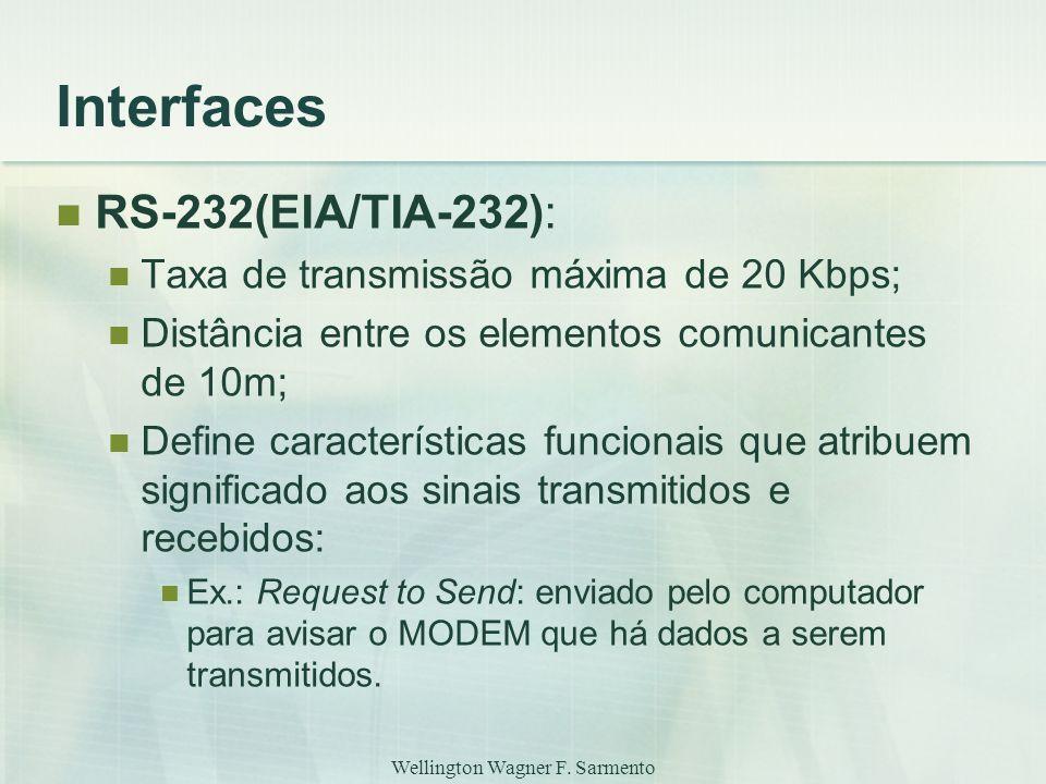 Wellington Wagner F. Sarmento Interfaces RS-232(EIA/TIA-232): Taxa de transmissão máxima de 20 Kbps; Distância entre os elementos comunicantes de 10m;