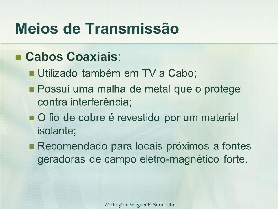 Wellington Wagner F. Sarmento Meios de Transmissão Cabos Coaxiais: Utilizado também em TV a Cabo; Possui uma malha de metal que o protege contra inter