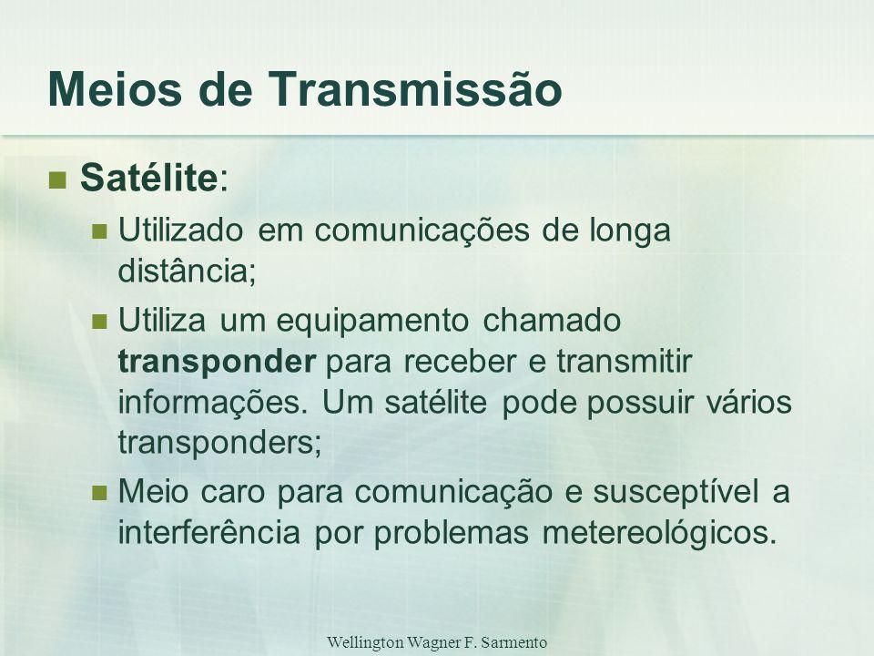 Wellington Wagner F. Sarmento Meios de Transmissão Satélite: Utilizado em comunicações de longa distância; Utiliza um equipamento chamado transponder