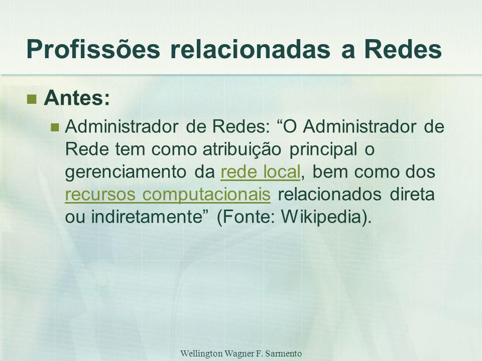 """Wellington Wagner F. Sarmento Profissões relacionadas a Redes Antes: Administrador de Redes: """"O Administrador de Rede tem como atribuição principal o"""