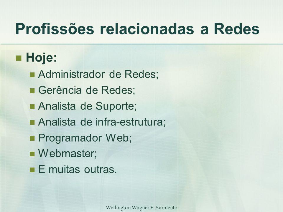 Wellington Wagner F. Sarmento Profissões relacionadas a Redes Hoje: Administrador de Redes; Gerência de Redes; Analista de Suporte; Analista de infra-