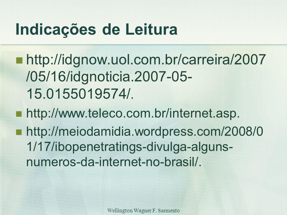 Wellington Wagner F. Sarmento Indicações de Leitura http://idgnow.uol.com.br/carreira/2007 /05/16/idgnoticia.2007-05- 15.0155019574/. http://www.telec