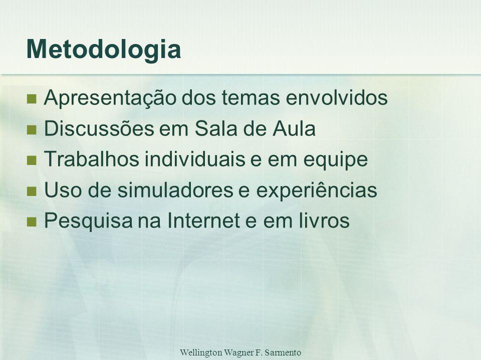 Wellington Wagner F. Sarmento Metodologia Apresentação dos temas envolvidos Discussões em Sala de Aula Trabalhos individuais e em equipe Uso de simula