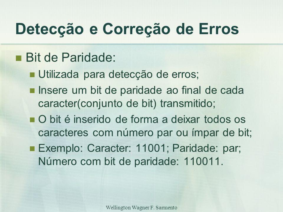 Wellington Wagner F. Sarmento Detecção e Correção de Erros Bit de Paridade: Utilizada para detecção de erros; Insere um bit de paridade ao final de ca
