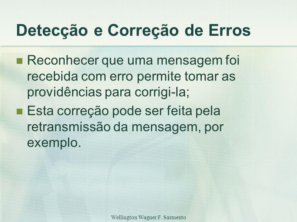 Wellington Wagner F. Sarmento Detecção e Correção de Erros Reconhecer que uma mensagem foi recebida com erro permite tomar as providências para corrig