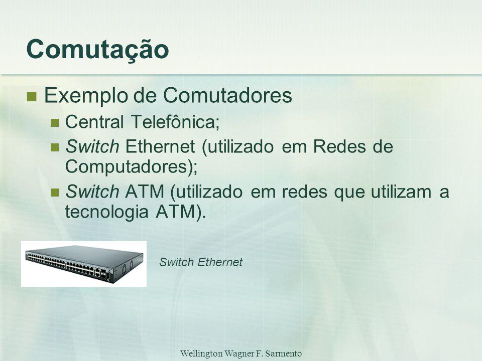 Wellington Wagner F. Sarmento Comutação Exemplo de Comutadores Central Telefônica; Switch Ethernet (utilizado em Redes de Computadores); Switch ATM (u