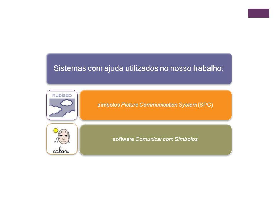 Sistemas com ajuda utilizados no nosso trabalho: símbolos Picture Communication System (SPC)software Comunicar com Símbolos