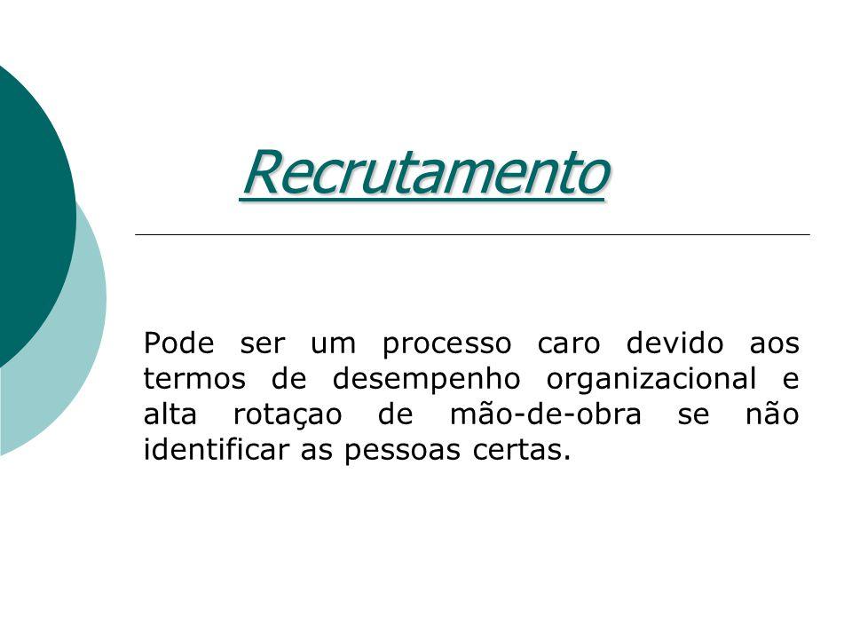 Recrutamento Pode ser um processo caro devido aos termos de desempenho organizacional e alta rotaçao de mão-de-obra se não identificar as pessoas cert