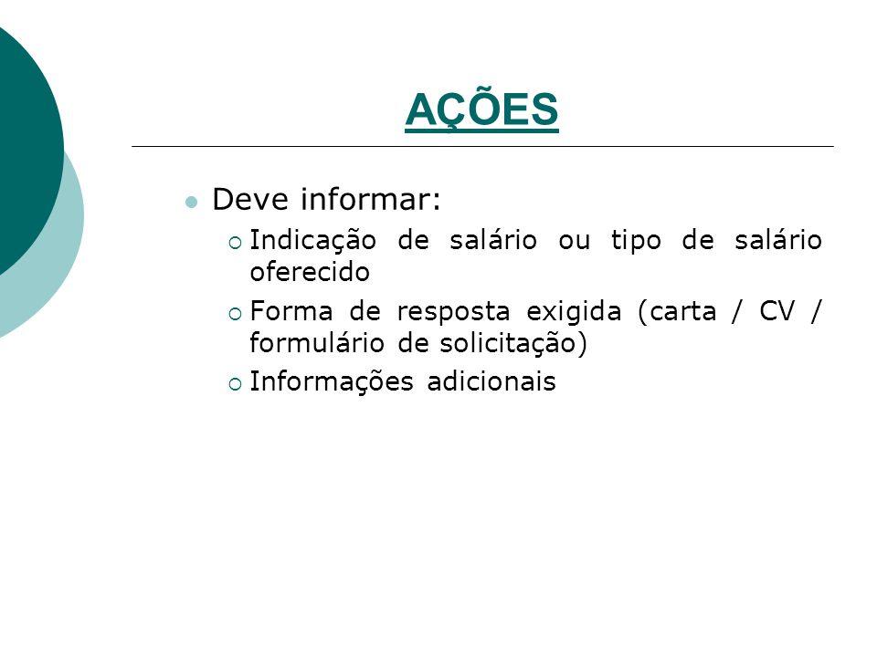 AÇÕES Deve informar:  Indicação de salário ou tipo de salário oferecido  Forma de resposta exigida (carta / CV / formulário de solicitação)  Inform