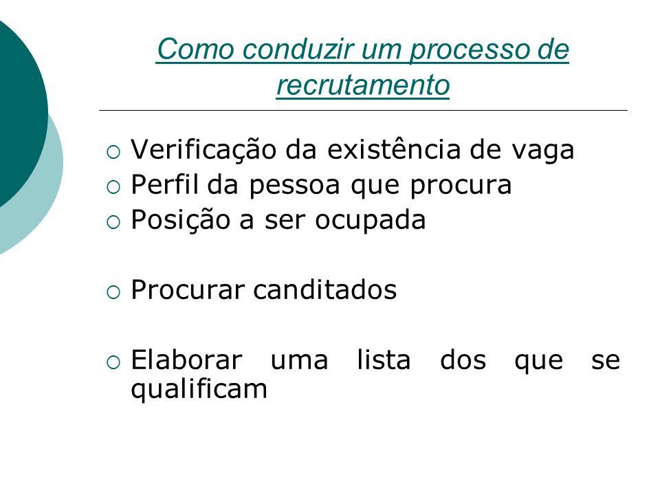 Como conduzir um processo de recrutamento  Verificação da existência de vaga  Perfil da pessoa que procura  Posição a ser ocupada  Procurar candit