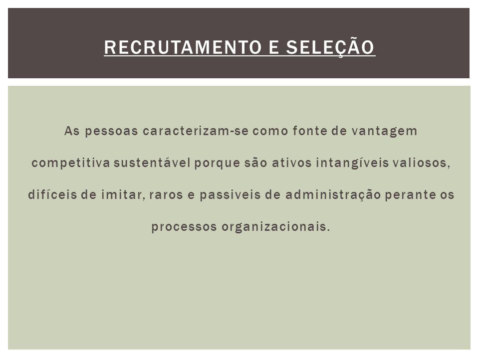 As pessoas caracterizam-se como fonte de vantagem competitiva sustentável porque são ativos intangíveis valiosos, difíceis de imitar, raros e passiveis de administração perante os processos organizacionais.