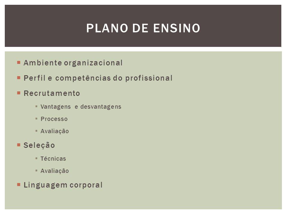  Ambiente organizacional  Perfil e competências do profissional  Recrutamento  Vantagens e desvantagens  Processo  Avaliação  Seleção  Técnicas  Avaliação  Linguagem corporal PLANO DE ENSINO