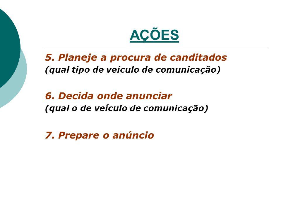 AÇÕES 5. Planeje a procura de canditados (qual tipo de veículo de comunicação) 6. Decida onde anunciar (qual o de veículo de comunicação) 7. Prepare o