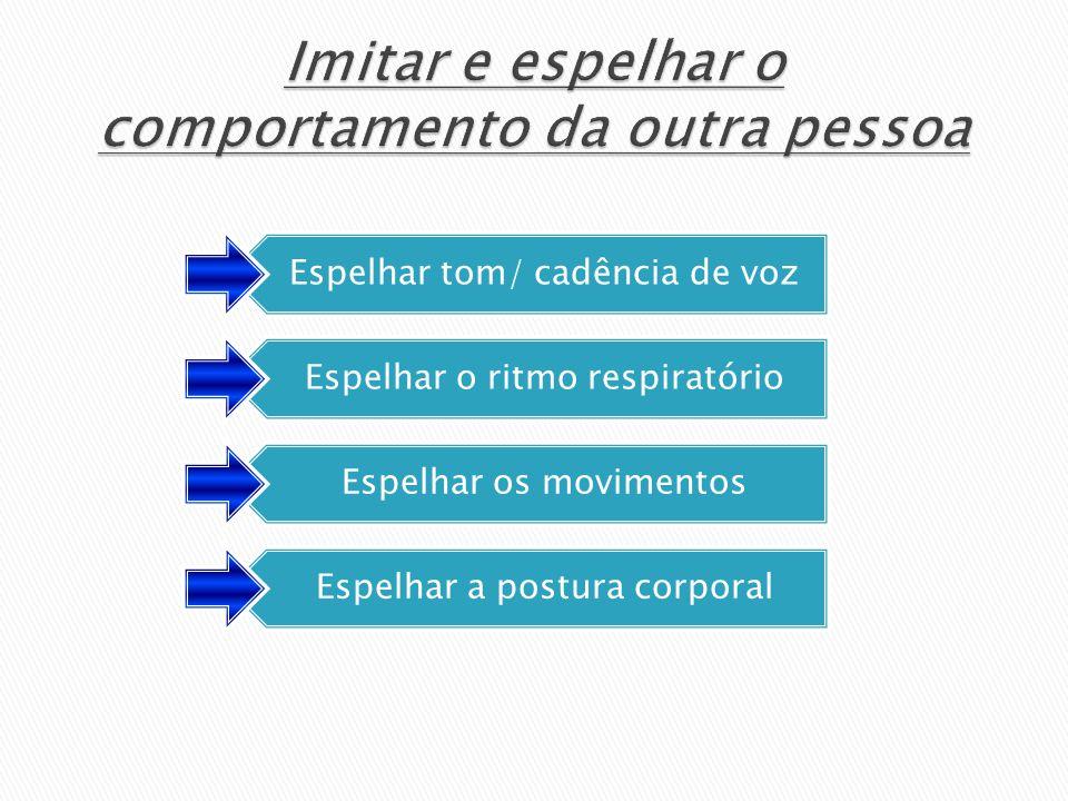 Espelhar tom/ cadência de voz Espelhar o ritmo respiratório Espelhar os movimentos Espelhar a postura corporal
