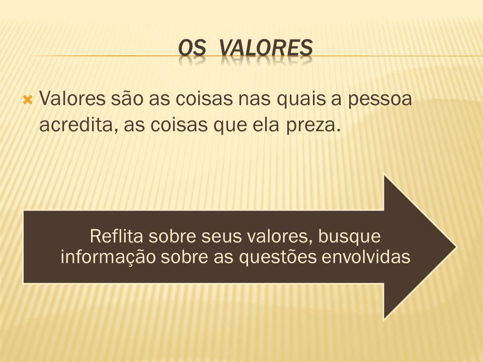  Valores são as coisas nas quais a pessoa acredita, as coisas que ela preza.