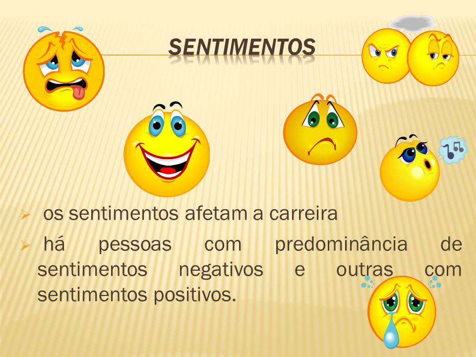 os sentimentos afetam a carreira  há pessoas com predominância de sentimentos negativos e outras com sentimentos positivos.
