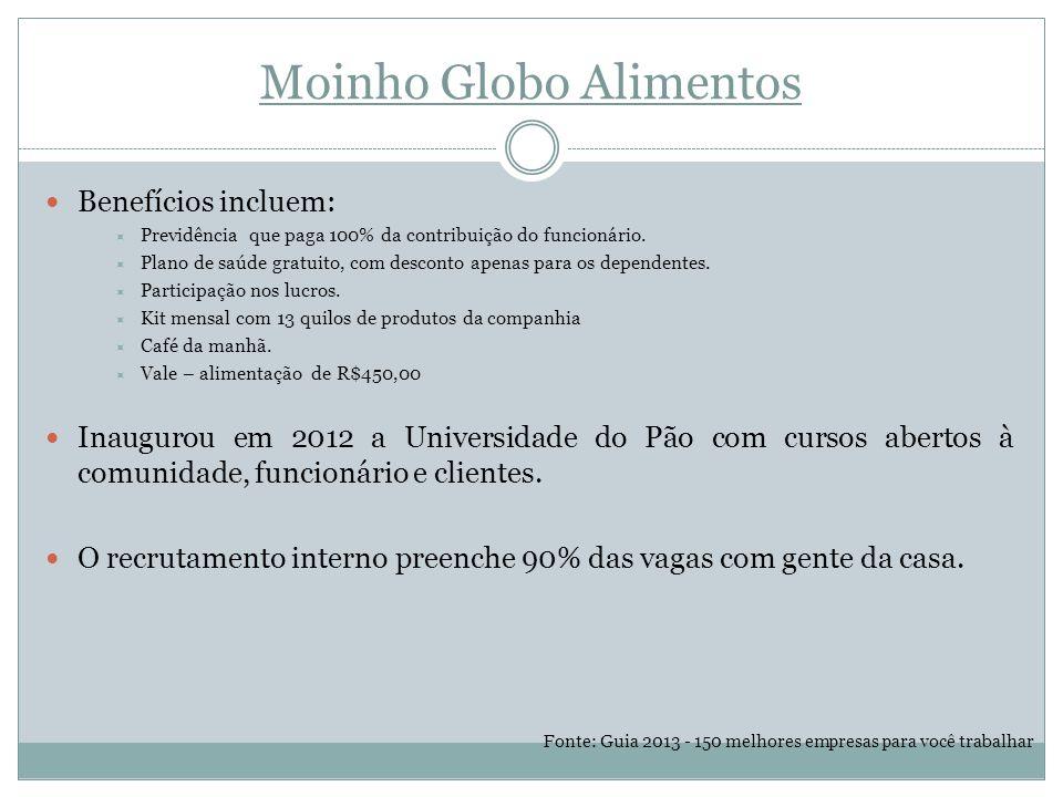 Moinho Globo Alimentos Benefícios incluem:  Previdência que paga 100% da contribuição do funcionário.
