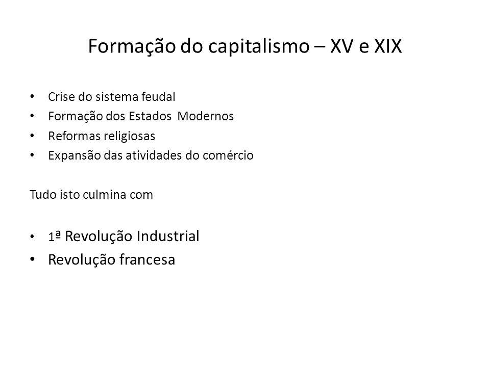 Formação do capitalismo – XV e XIX Crise do sistema feudal Formação dos Estados Modernos Reformas religiosas Expansão das atividades do comércio Tudo