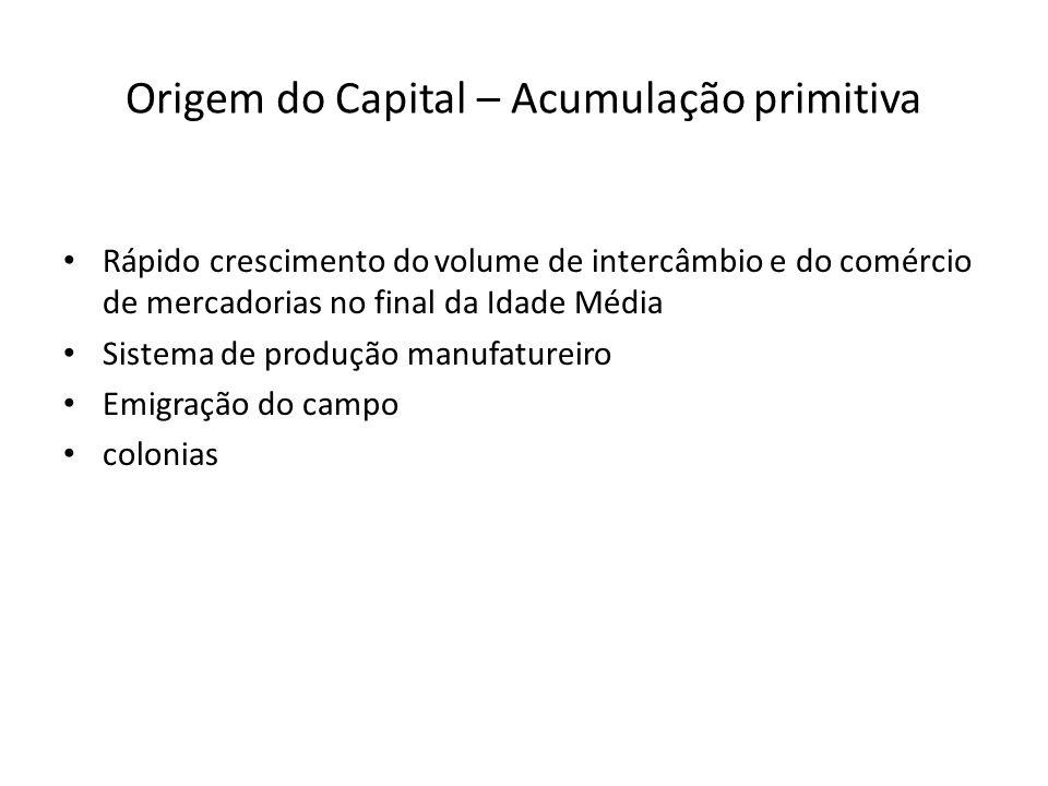 Origem do Capital – Acumulação primitiva Rápido crescimento do volume de intercâmbio e do comércio de mercadorias no final da Idade Média Sistema de p