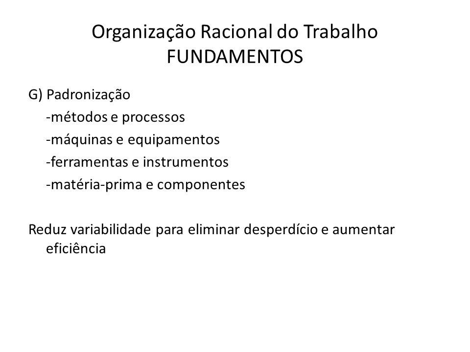 Organização Racional do Trabalho FUNDAMENTOS G) Padronização -métodos e processos -máquinas e equipamentos -ferramentas e instrumentos -matéria-prima