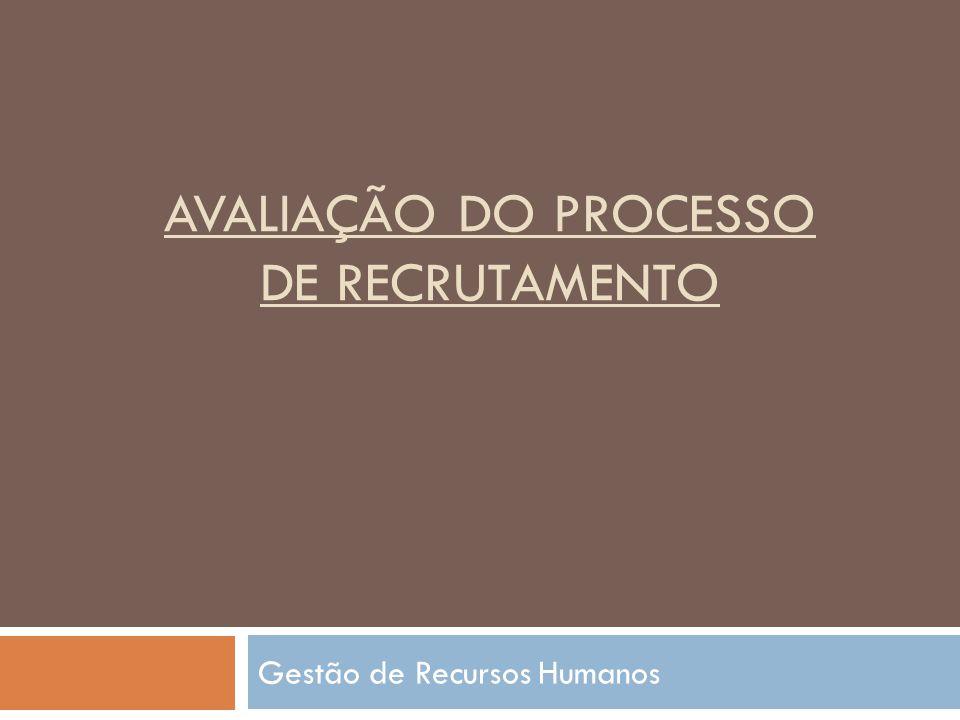 AVALIAÇÃO DO PROCESSO DE RECRUTAMENTO Gestão de Recursos Humanos
