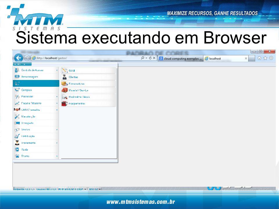 Sistema executando em Browser