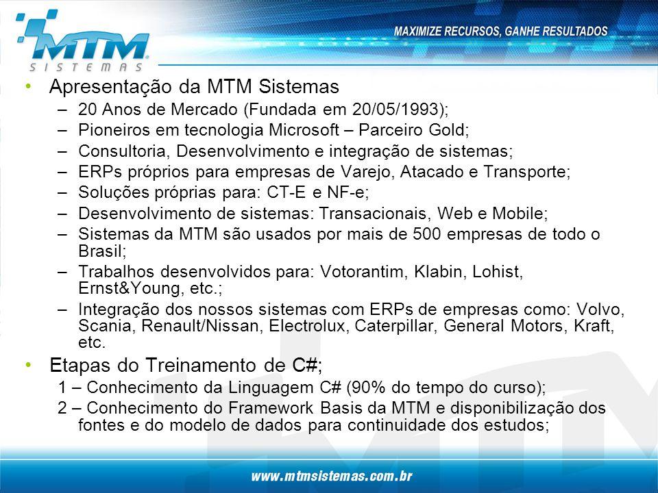 Apresentação da MTM Sistemas –20 Anos de Mercado (Fundada em 20/05/1993); –Pioneiros em tecnologia Microsoft – Parceiro Gold; –Consultoria, Desenvolvimento e integração de sistemas; –ERPs próprios para empresas de Varejo, Atacado e Transporte; –Soluções próprias para: CT-E e NF-e; –Desenvolvimento de sistemas: Transacionais, Web e Mobile; –Sistemas da MTM são usados por mais de 500 empresas de todo o Brasil; –Trabalhos desenvolvidos para: Votorantim, Klabin, Lohist, Ernst&Young, etc.; –Integração dos nossos sistemas com ERPs de empresas como: Volvo, Scania, Renault/Nissan, Electrolux, Caterpillar, General Motors, Kraft, etc.