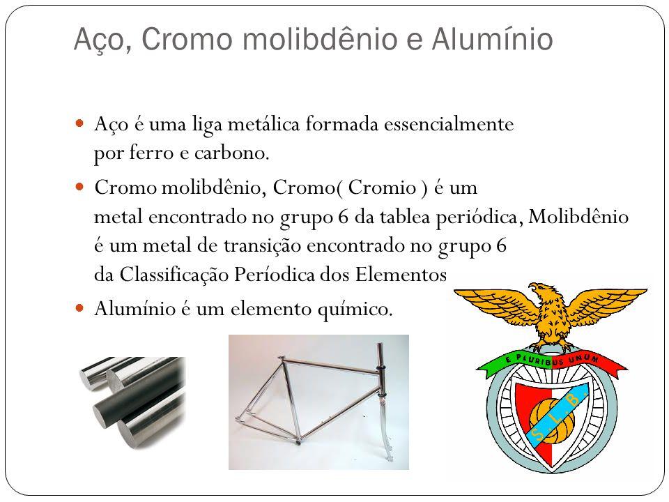 Aço, Cromo molibdênio e Alumínio Aço é uma liga metálica formada essencialmente por ferro e carbono.