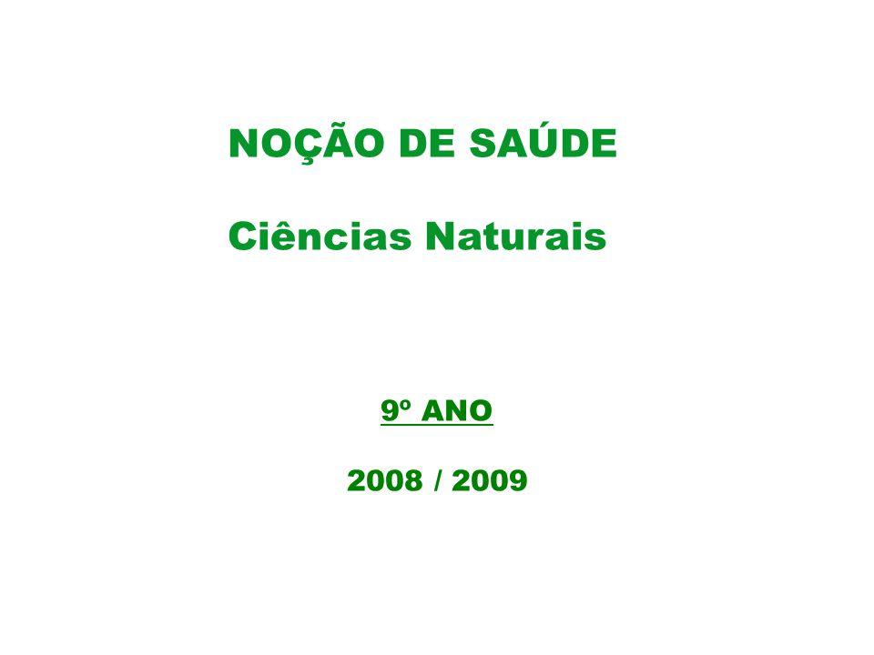 NOÇÃO DE SAÚDE Ciências Naturais 9º ANO 2008 / 2009