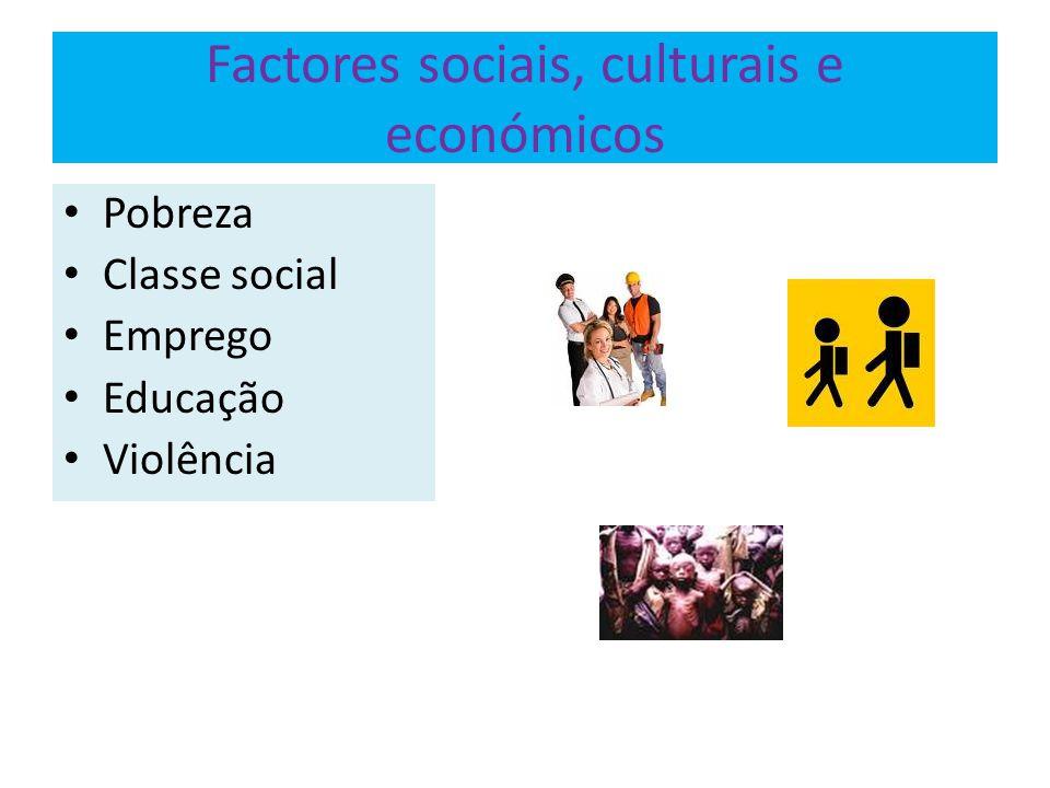Factores sociais, culturais e económicos Pobreza Classe social Emprego Educação Violência