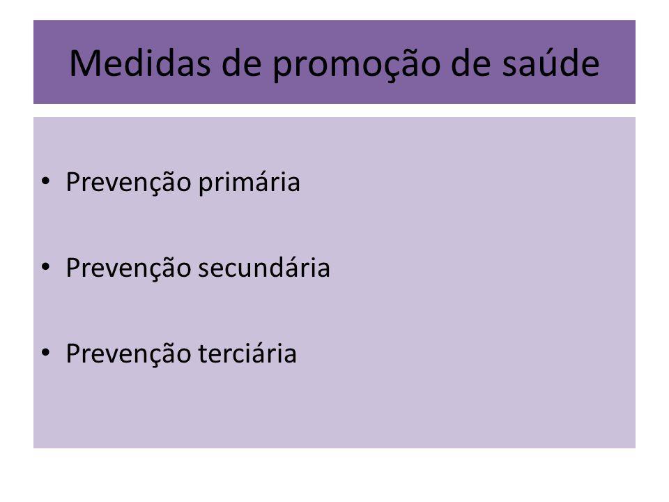 Medidas de promoção de saúde Prevenção primária Prevenção secundária Prevenção terciária