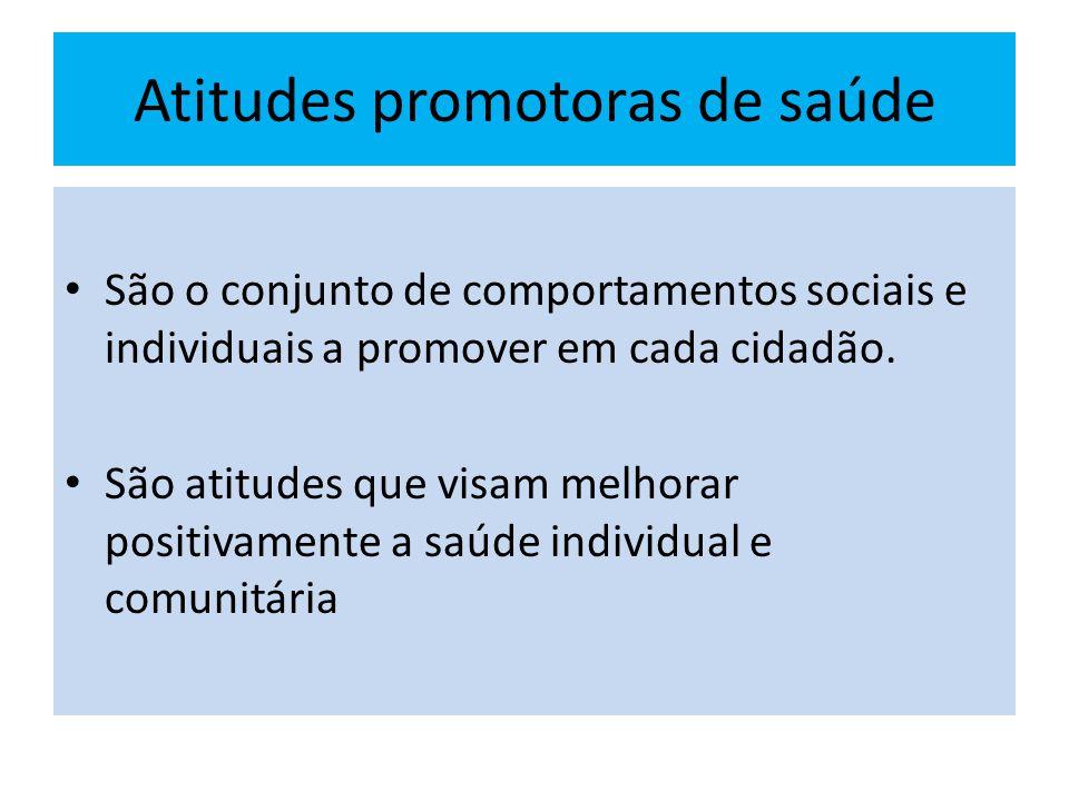 Atitudes promotoras de saúde São o conjunto de comportamentos sociais e individuais a promover em cada cidadão. São atitudes que visam melhorar positi