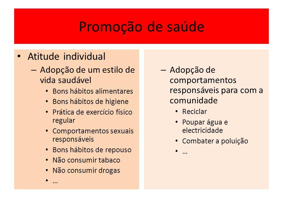 Promoção de saúde Atitude individual – Adopção de um estilo de vida saudável Bons hábitos alimentares Bons hábitos de higiene Prática de exercício fís