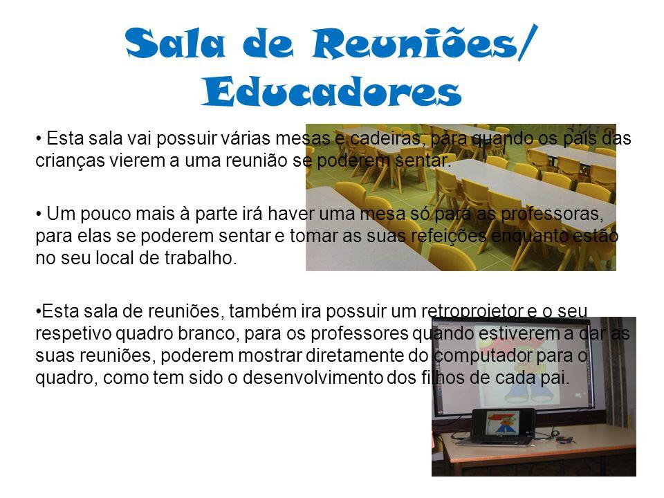 Sala de Reuniões/ Educadores Esta sala vai possuir várias mesas e cadeiras, para quando os pais das crianças vierem a uma reunião se poderem sentar. U