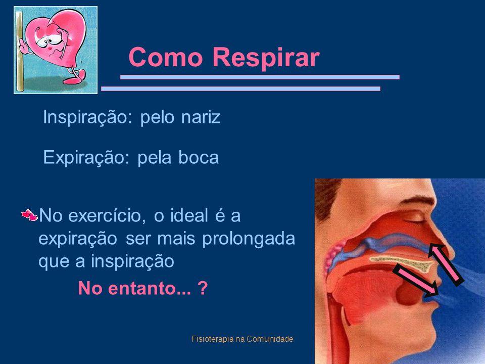 Fisioterapia na Comunidade11 Como Respirar No exercício, o ideal é a expiração ser mais prolongada que a inspiração No entanto... ? Inspiração: pelo n
