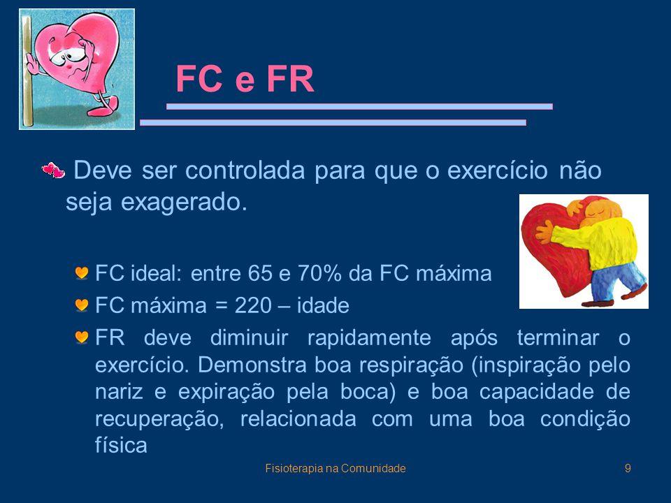 Fisioterapia na Comunidade9 FC e FR Deve ser controlada para que o exercício não seja exagerado. FC ideal: entre 65 e 70% da FC máxima FC máxima = 220