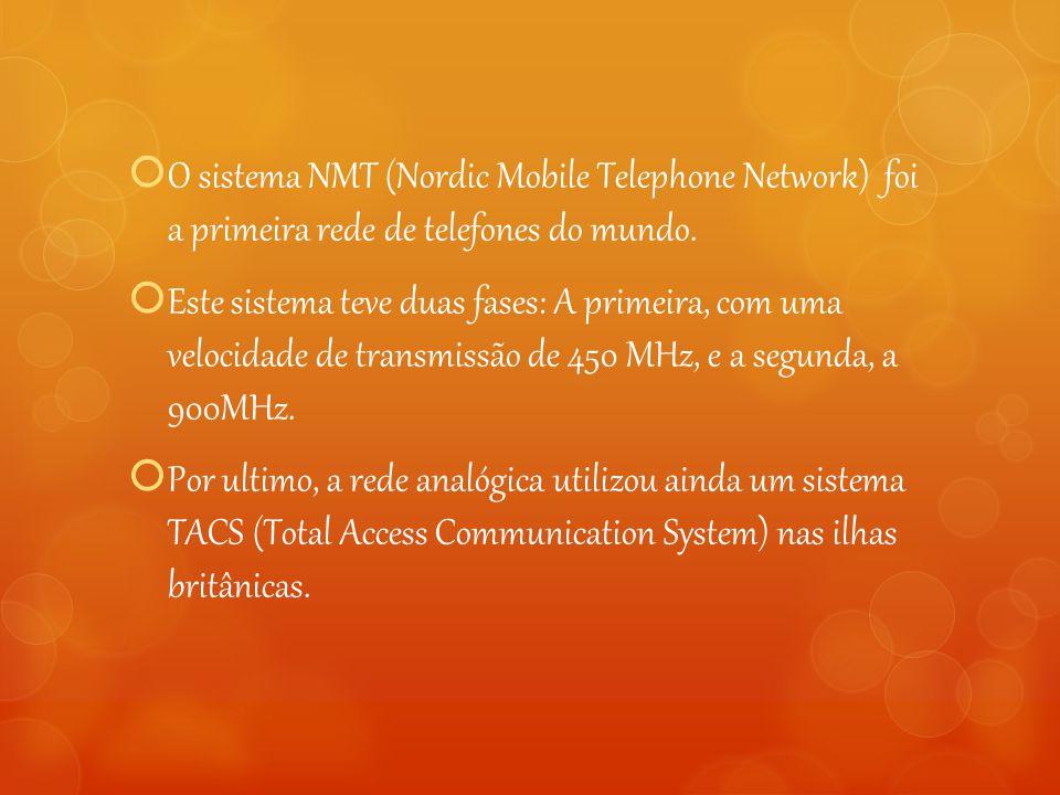  O sistema NMT (Nordic Mobile Telephone Network) foi a primeira rede de telefones do mundo.  Este sistema teve duas fases: A primeira, com uma veloc
