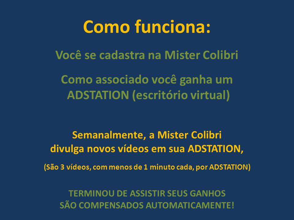 Como funciona: Você se cadastra na Mister Colibri Como associado você ganha um ADSTATION (escritório virtual) Semanalmente, a Mister Colibri divulga n