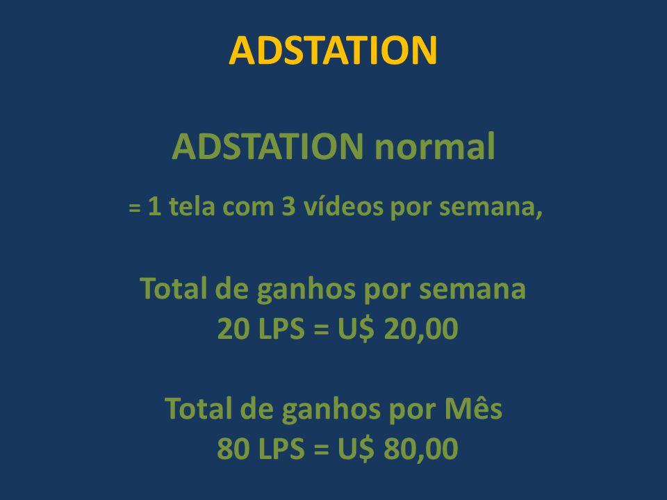 ADSTATION ADSTATION normal = 1 tela com 3 vídeos por semana, Total de ganhos por semana 20 LPS = U$ 20,00 Total de ganhos por Mês 80 LPS = U$ 80,00