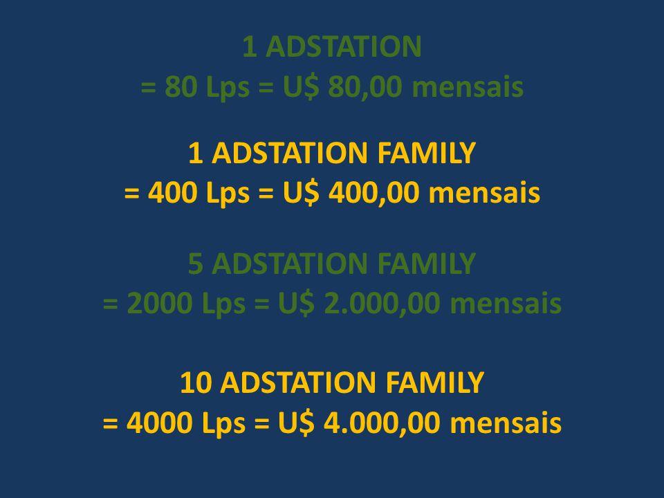 1 ADSTATION = 80 Lps = U$ 80,00 mensais 1 ADSTATION FAMILY = 400 Lps = U$ 400,00 mensais 5 ADSTATION FAMILY = 2000 Lps = U$ 2.000,00 mensais 10 ADSTAT