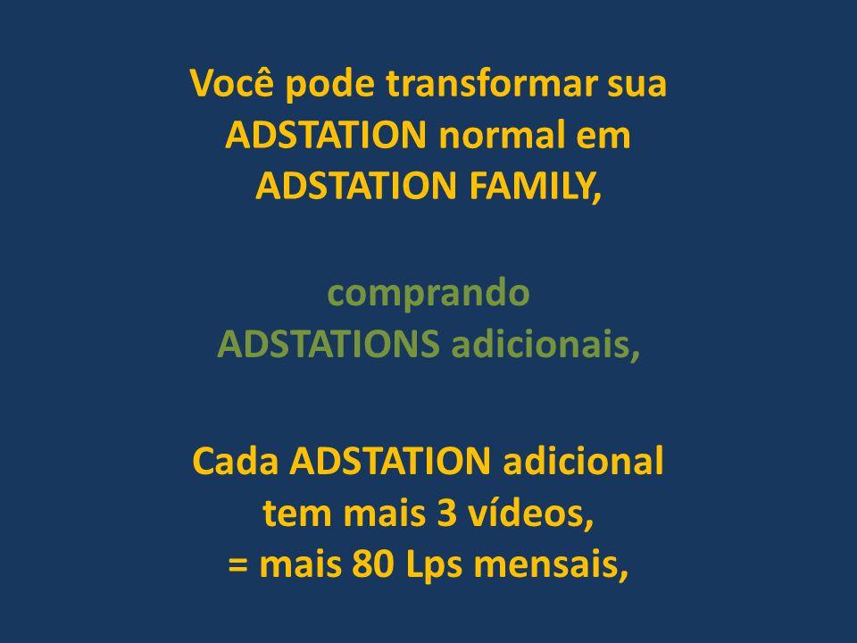 Você pode transformar sua ADSTATION normal em ADSTATION FAMILY, Cada ADSTATION adicional tem mais 3 vídeos, = mais 80 Lps mensais, comprando ADSTATION